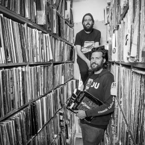 Portrait of Johnpaul Golaski and Yoni Kroll of WKDU – Photograph by Karen Kirchhoff